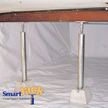 Crawl space structural support jacks