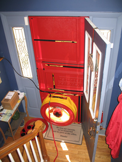 Blower door test for Newport News homes